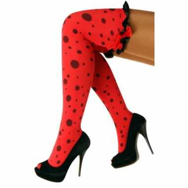 Polkadot carnaval kousen rood zwart