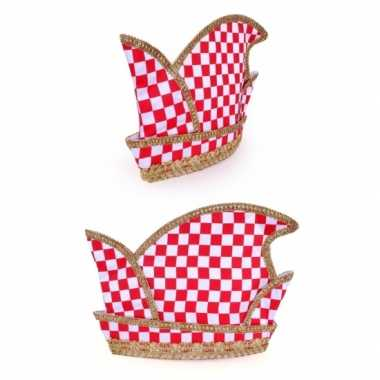 Prins carnaval hoed rood/wit geblokt volwassenen