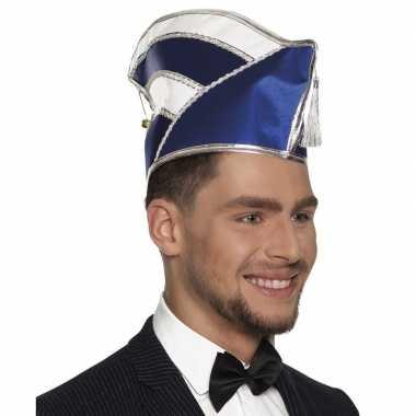 Prins carnaval muts blauw wit heren