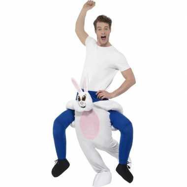 Ride on dierenpak carnavalspak konijn volwassenen