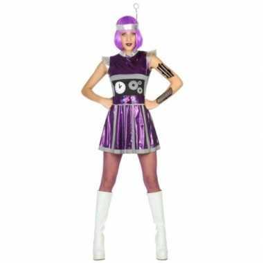 Robot carnavalspak paars dames