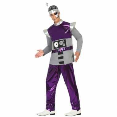 Robot carnavalspak paars heren