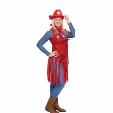Rood cowboy carnavalspak vestje dames