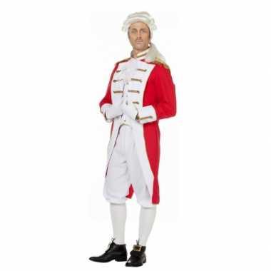 Rood wit musketiers carnavalspak