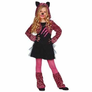Roze katten carnaval / halloween pakje meisjes