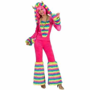 Roze regenboog monster carnavalspak dames