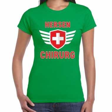 Specialist hersen chirurg verkleed shirt carnaval groen dames