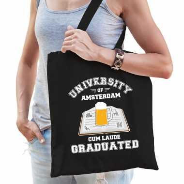 Studenten carnaval verkleed tas zwart university of amsterdam afgestudeerd dames