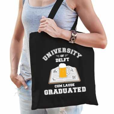 Studenten carnaval verkleed tas zwart university of delft afgestudeerd dames