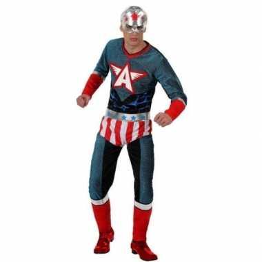 Superhelden carnavalspak amerika kapitein heren