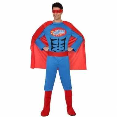Superhelden carnavalspak blauw rood heren