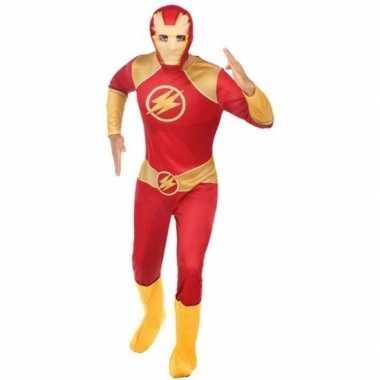 Superhelden carnavalspak rood goud heren