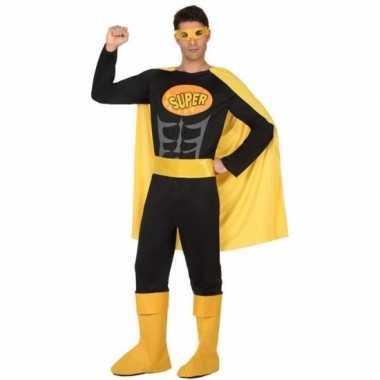 Superhelden carnavalspak zwart geel heren