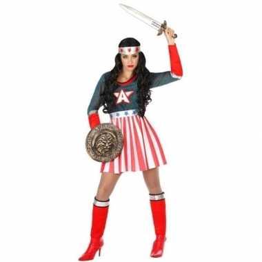 Superheldin carnavalspak amerika kapitein dames