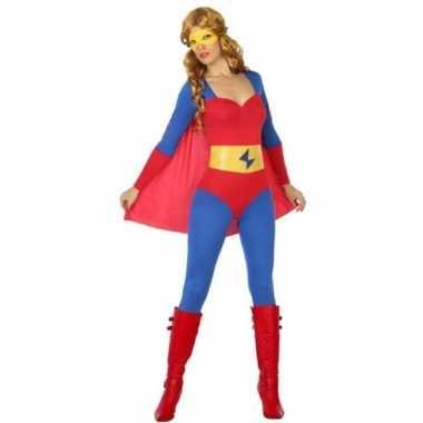Superheldin carnavalspak blauw/rood dames