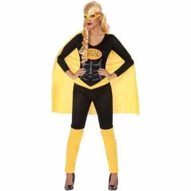 Superheldin carnavalspak zwart/geel dames