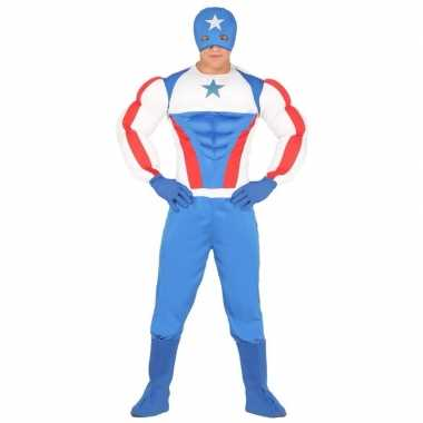 Verkleedcarnavalspak superheld rood blauw volwassenen