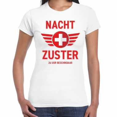 Verpleegster verkleed shirt nacht zuster uur beschikbaar carnaval wit