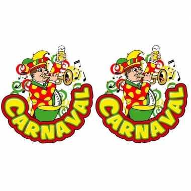 X carnaval raamsticker muzikant trompet