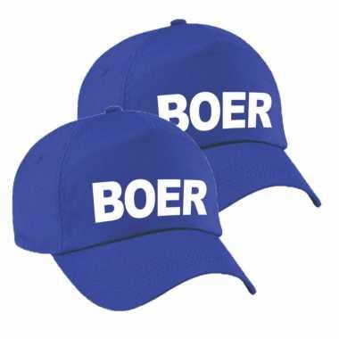 X stuks carnaval verkleed pet cap boer blauw heren