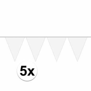 X stuks carnaval vlaggenlijn wit meter