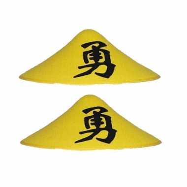 X stuks gele chinese carnaval hoeden teken
