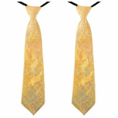X stuks gouden carnaval verkleed glitter stropdas volwassenen