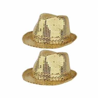 X stuks gouden carnaval verkleed hoed pailletten