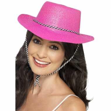 X stuks roze glitter carnaval verkleed cowboy hoed 10288289