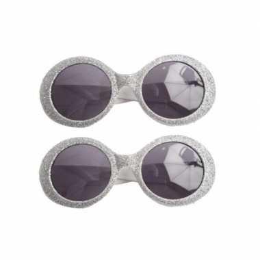 X stuks zilveren disco carnaval verkleed bril glitters