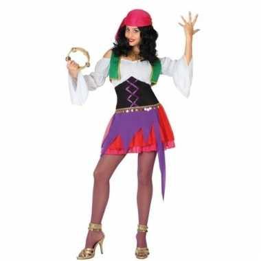 Zigeunerinnen carnavalspak paars/roze dames