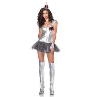 Zilveren tin man carnavalspak dames