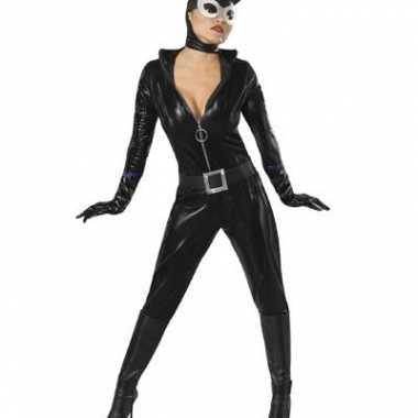 Zwart catwoman carnavalspak lederlook