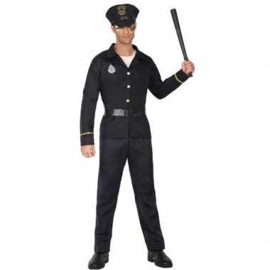 Zwart politie carnavalspak volwassenen