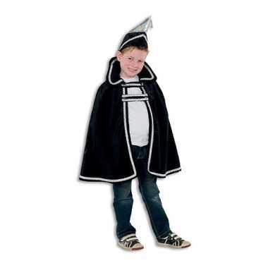 Zwart Prins carnaval kinder cape hoed