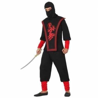 Zwart/rode ninja carnavalspak dames/heren