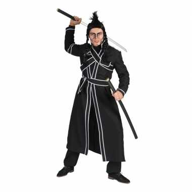 Zwart samurai verkleed carnavalspak heren