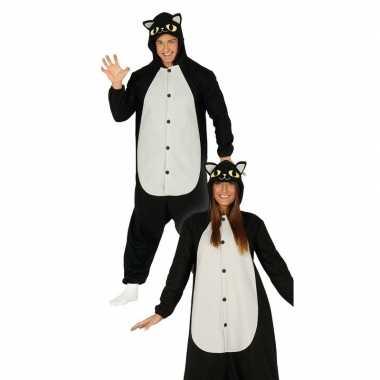 Zwarte kat/poes verkleed carnavalspak heren