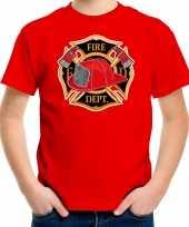 Brandweerman brandweer shirt carnavalspak rood kinderen verkleed carnavalspak