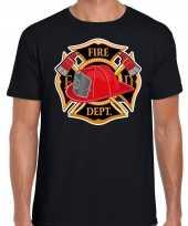 Carnaval brandweerman shirt carnavalspak zwart heren