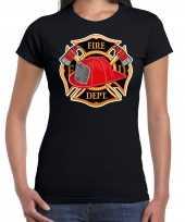 Carnaval brandweervrouw brandweer shirt carnavalspak zwart dames