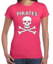 Carnaval foute party piraten t-shirt roze dames
