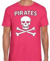 Carnaval foute party piraten t-shirt roze heren