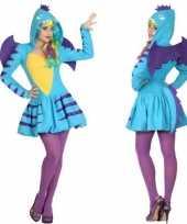 Carnavalspak blauwe draak dames