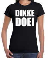 Dikke doei t shirt carnavalspak zwart dames