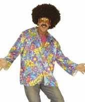 Hippie jaren carnavalspak overhemd paars heren