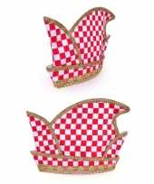 Prins carnaval hoed rood wit geblokt volwassenen