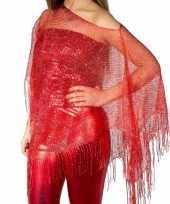 Rode carnaval poncho omslagdoek stola dames