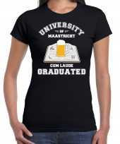 Studenten carnaval shirt zwart university of maastricht afgestudeerd dames