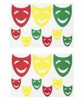 X sets raamsticker vrolijke maskers rood geel groen carnaval decoratie